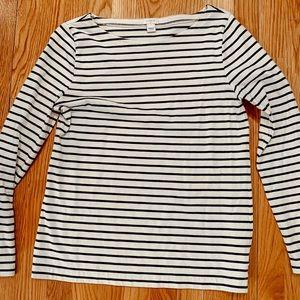 J crew navy stripe long sleeve shirt